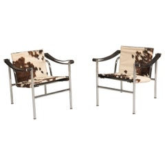 Le Corbusier Postmodern Steel and Cowskin LC1 Numbered Chairs for Cassina, 1980s