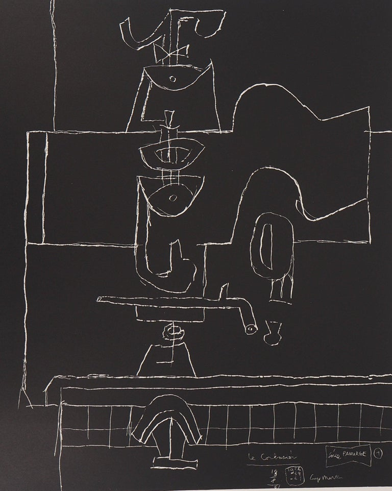 Bottle, Glass and Book - Original Lithograph (Mourlot) - Modern Print by Le Corbusier