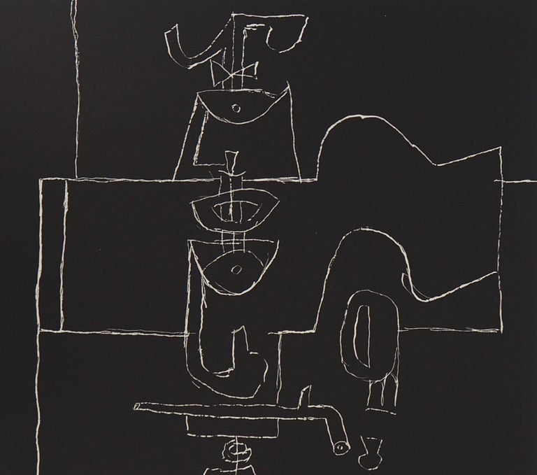 Bottle, Glass and Book - Original Lithograph (Mourlot) - Black Still-Life Print by Le Corbusier