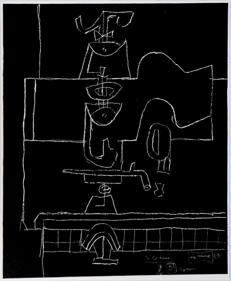 Le Corbusier Still-Life Print - Bottle, Glass and Book - Original Lithograph (Mourlot)