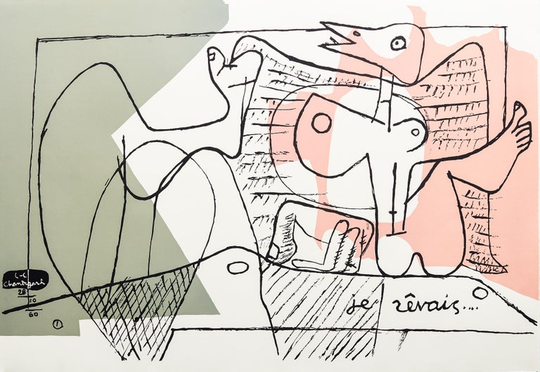 "Je Révais, Lithograph From the ""cortège..."" Portfolio, Signed & Dated in Stone - Print by Le Corbusier"