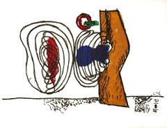 "Le Corbusier--Meandering Forms-19.75"" x 25.75""-Lithograph-1963-Modernism-White"