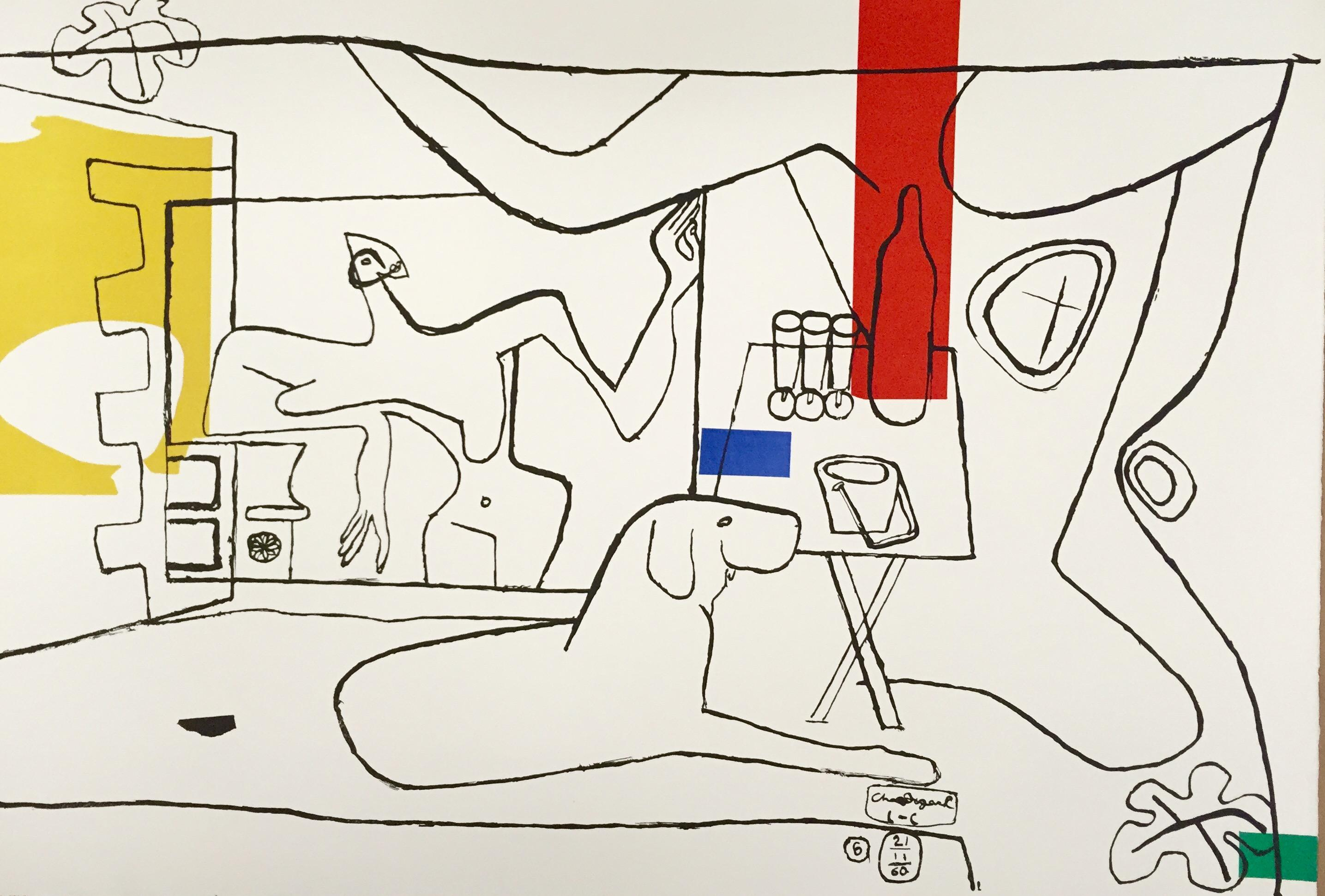 """Trois Verres d'aperitif by Le Corbusier, 1962, Lithograph from """"Cortège"""""""