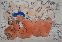 Two Reclining Nudes - Lithograph and watercolor stencil
