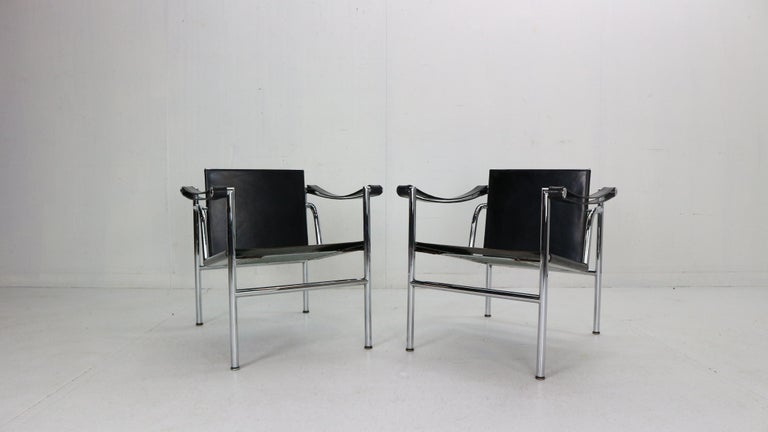 Set of 2 armchairs designed by Le Corbusier and manufactured for Cassina, famous Italian furniture manufacture in 1970s period.
