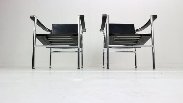 Italian Le Corbusier Set of 2 Black Leather Armchairs Model- LC1 for Cassina, 1970s For Sale
