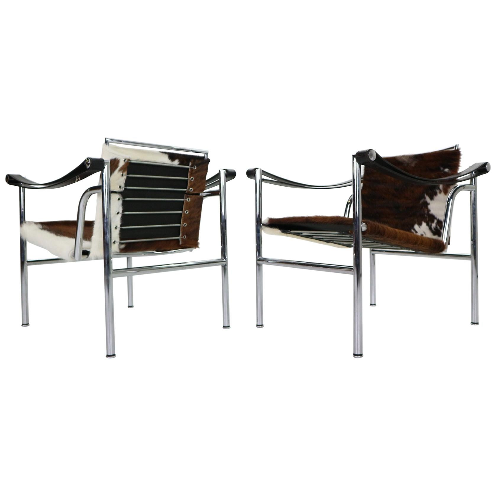 Le Corbusier Set of 2 Pony Skin Armchairs Model-LC1 for Cassina, 1970s, Italy