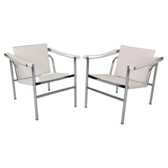 Le Corbusier Set of 2 White Leather Armchairs Model, LC1 for Cassina, 1970s