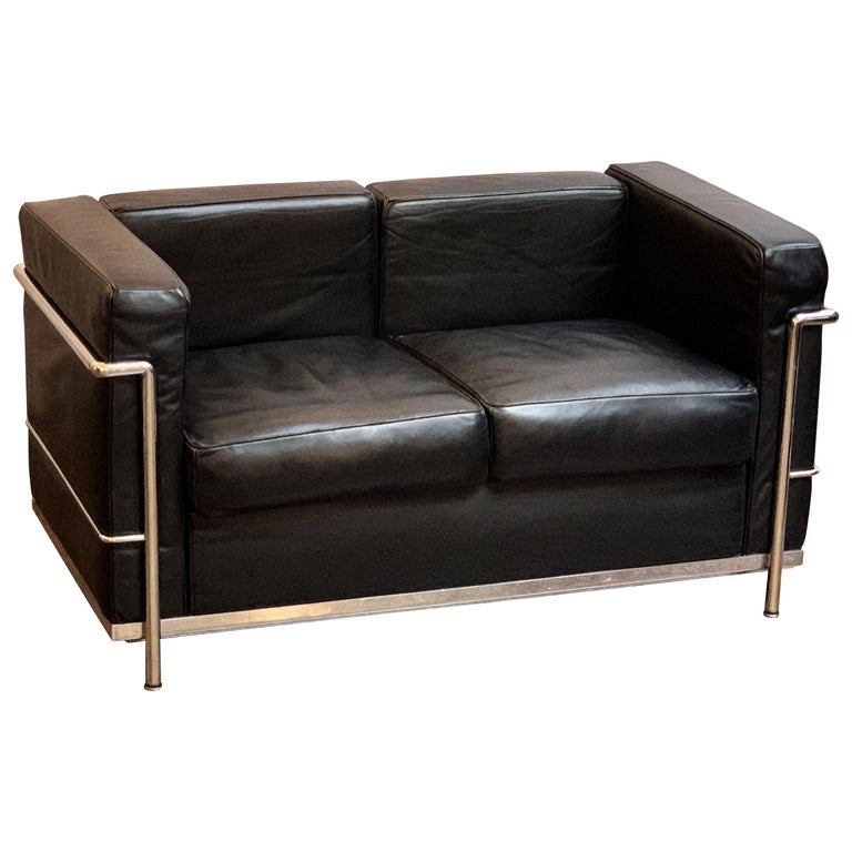 Le Corbusier Style Black Leather And Chrome Two-Seat Sofa