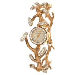 Le Coultre 1950s Vintage Gold and Diamond Ladies Dress Watch