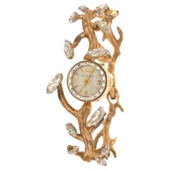 Le Coultre Gold and Marquise 1.00 Carat Diamond Ladies Dress Watch, c1950