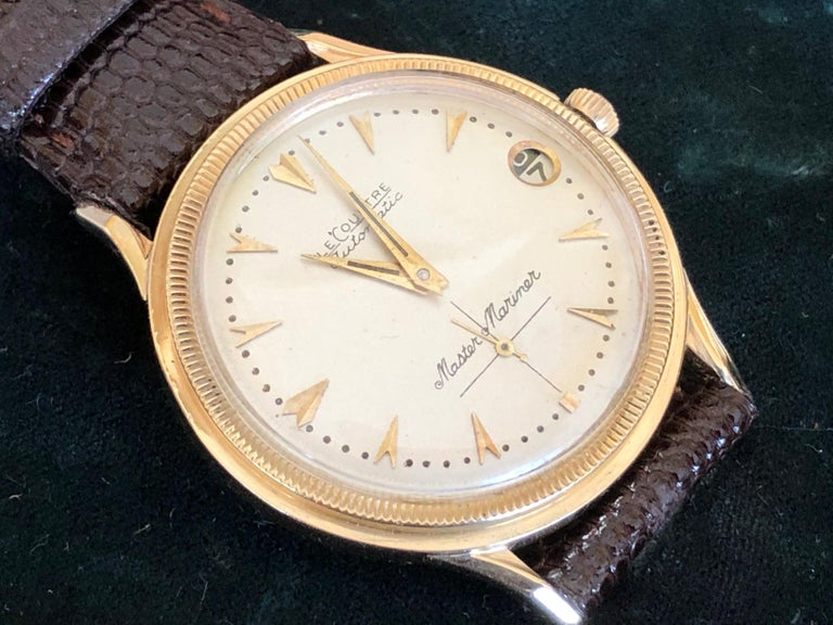 Le Coultre Men's Master Mariner 14-Karat Gold Watch with Box and Papers For Sale 5