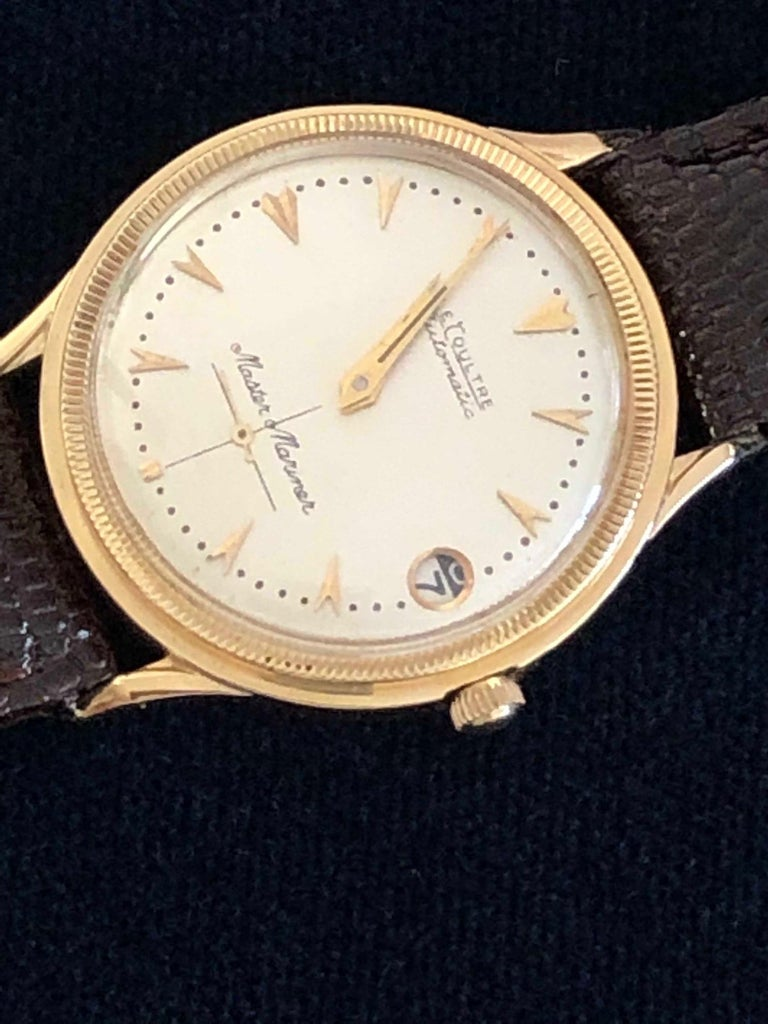 Mid-Century Modern Le Coultre Men's Master Mariner 14-Karat Gold Watch with Box and Papers For Sale