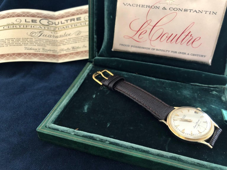 Le Coultre Men's Master Mariner 14-Karat Gold Watch with Box and Papers For Sale 2