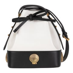 Le Deff small white and black leather bucket NWOT