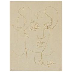 """""""Le Faune Rêveur"""" Lithography, Jean Cocteau, 1950"""