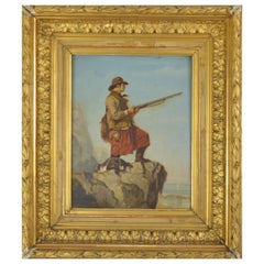 Le Fevere De Tenhove Painting Hunter with a Dog 1884 Belgian School 19th Century