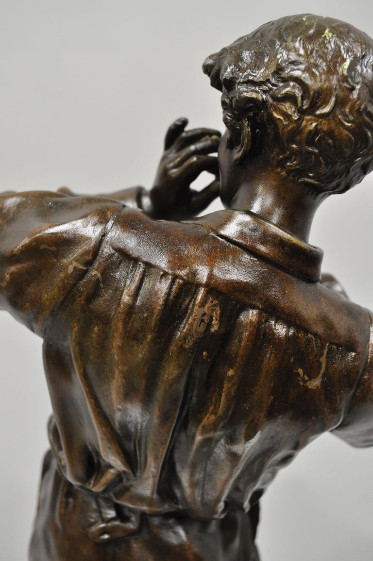 Le Fumeur French Spelter Statue Sculpture of Young Man Smoking by Charles Masse For Sale 7