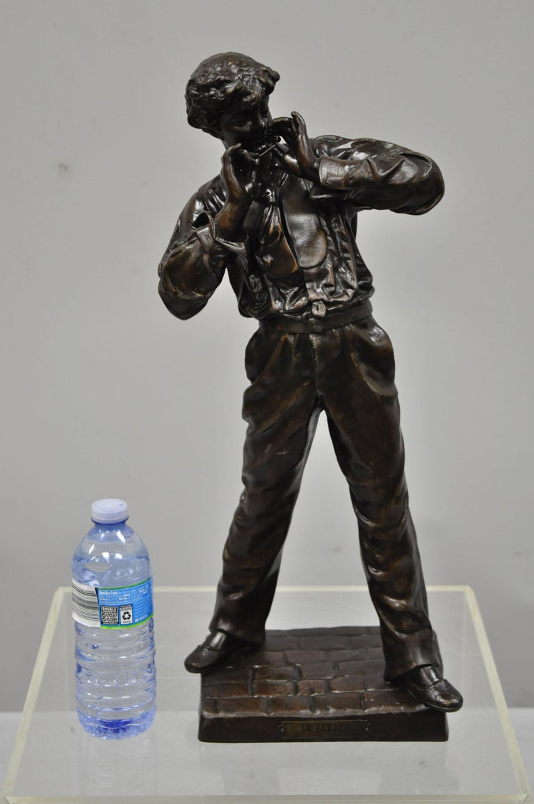 Le Fumeur French Spelter Statue Sculpture of Young Man Smoking by Charles Masse For Sale 8
