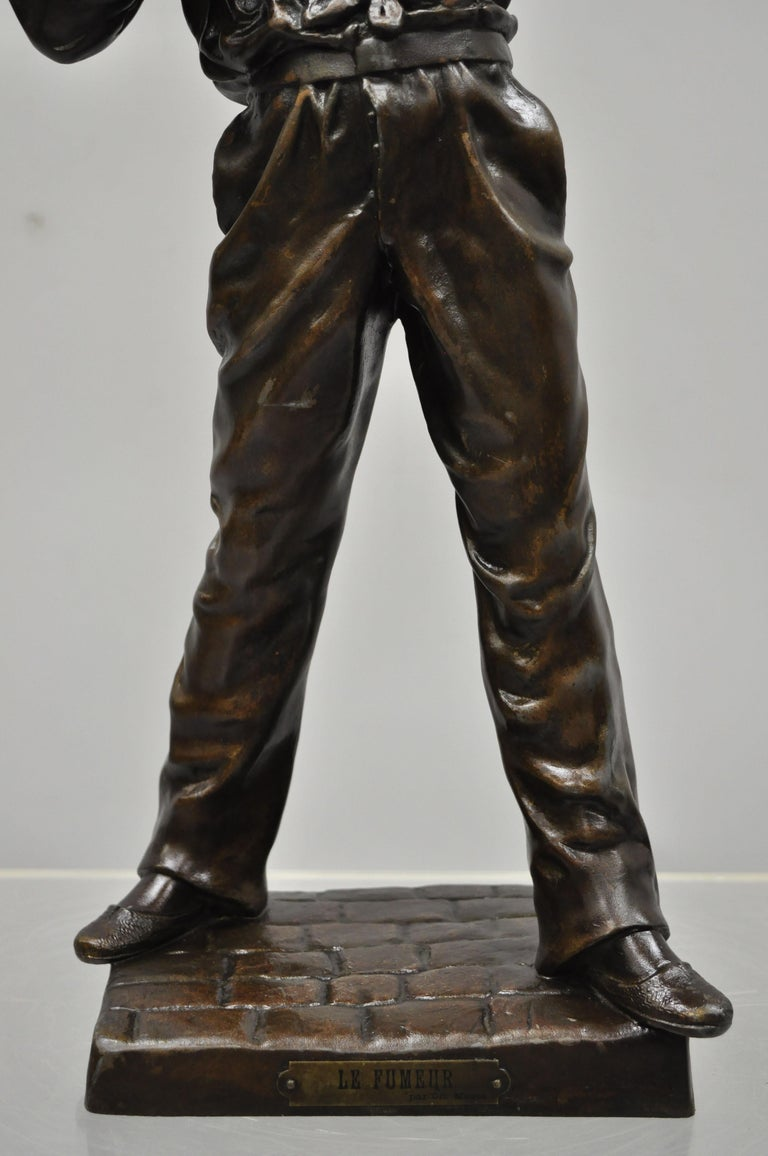 19th Century Le Fumeur French Spelter Statue Sculpture of Young Man Smoking by Charles Masse For Sale