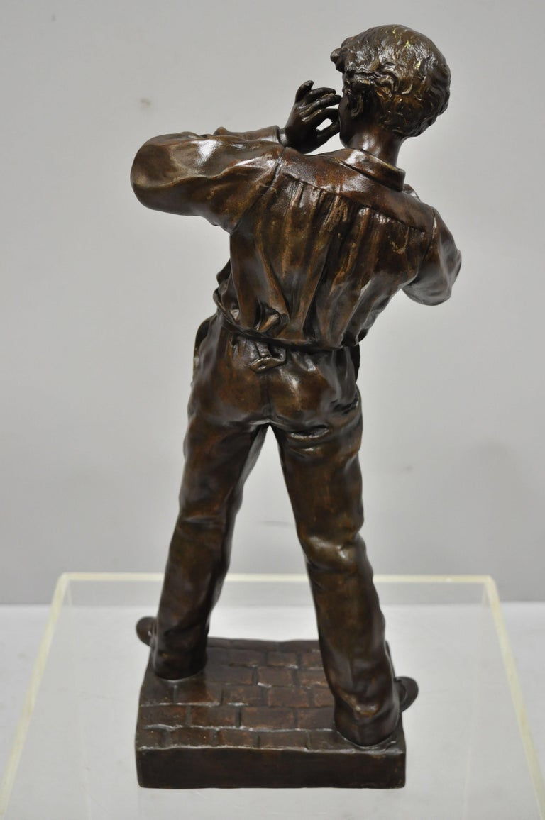 Le Fumeur French Spelter Statue Sculpture of Young Man Smoking by Charles Masse For Sale 5