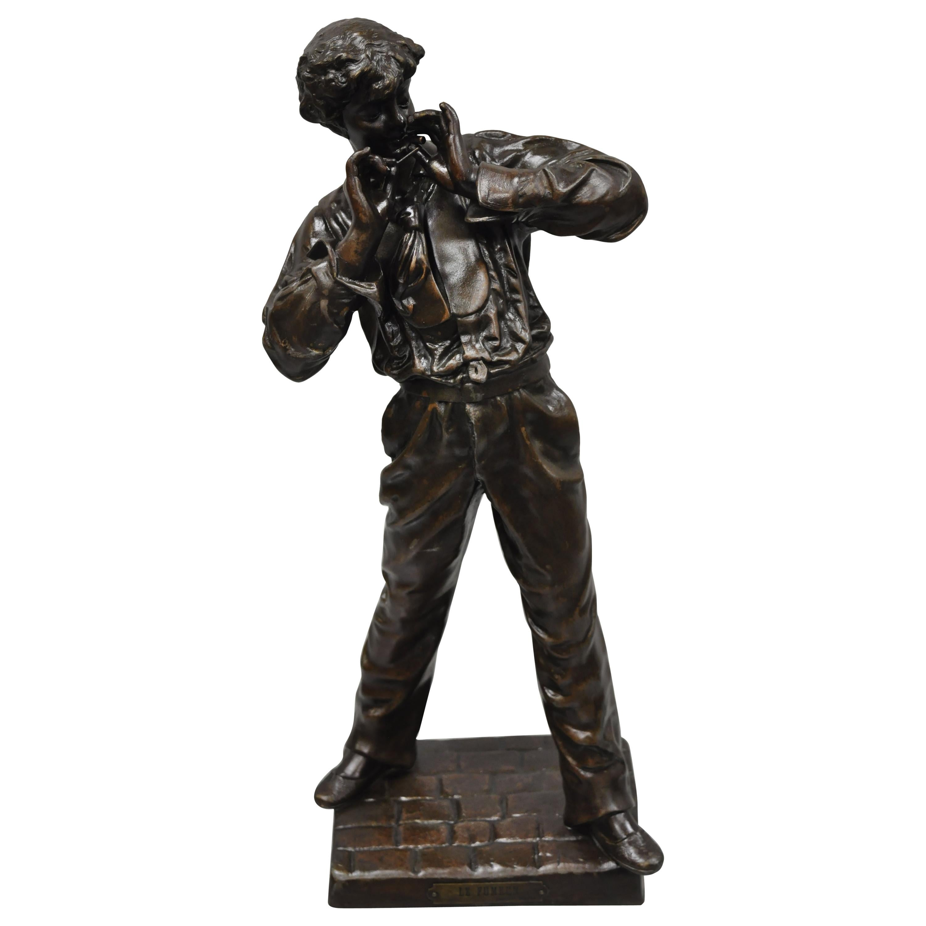 Le Fumeur French Spelter Statue Sculpture of Young Man Smoking by Charles Masse