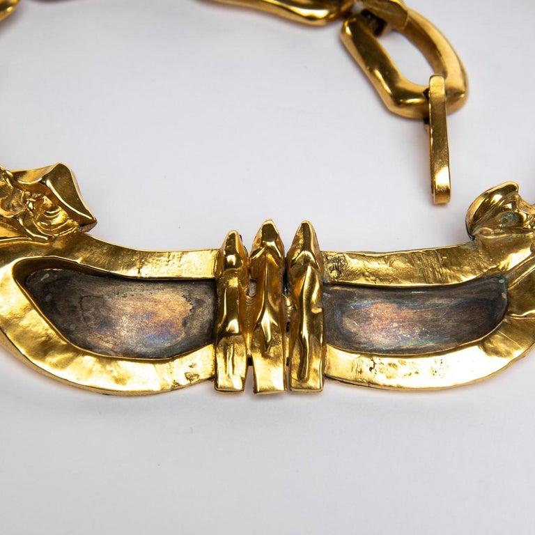 French Le gendarme et le voleur, Gilded Bronze Necklace, Line Vautrin 'France' For Sale