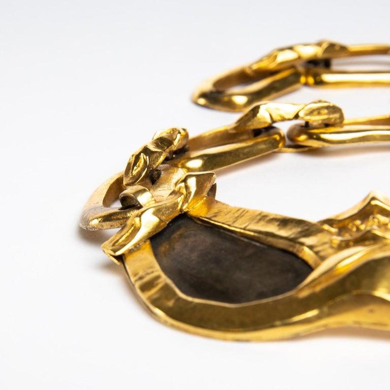 20th Century Le gendarme et le voleur, Gilded Bronze Necklace, Line Vautrin 'France' For Sale
