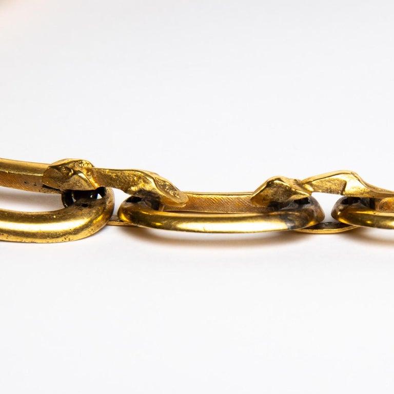 Le gendarme et le voleur, Gilded Bronze Necklace, Line Vautrin 'France' For Sale 1
