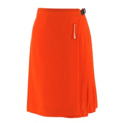 Le Kilt Orange Pleated Wool Skirt SIZE 6 UK