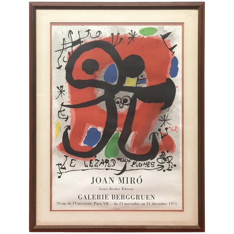 """""""Le Lezard a Plumes d'Or"""" Poster by Joan Miro For Sale"""
