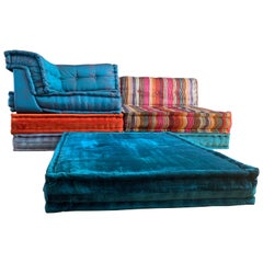 Le Mah Jong Modular Sofa Hans Hopfer Roche Bobois Jean Paul Gaultier Silk Velvet