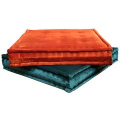 Le Mah Jong Roche Bobois Modular Sofa Missoni Square Cushion Set, Teal & Orange