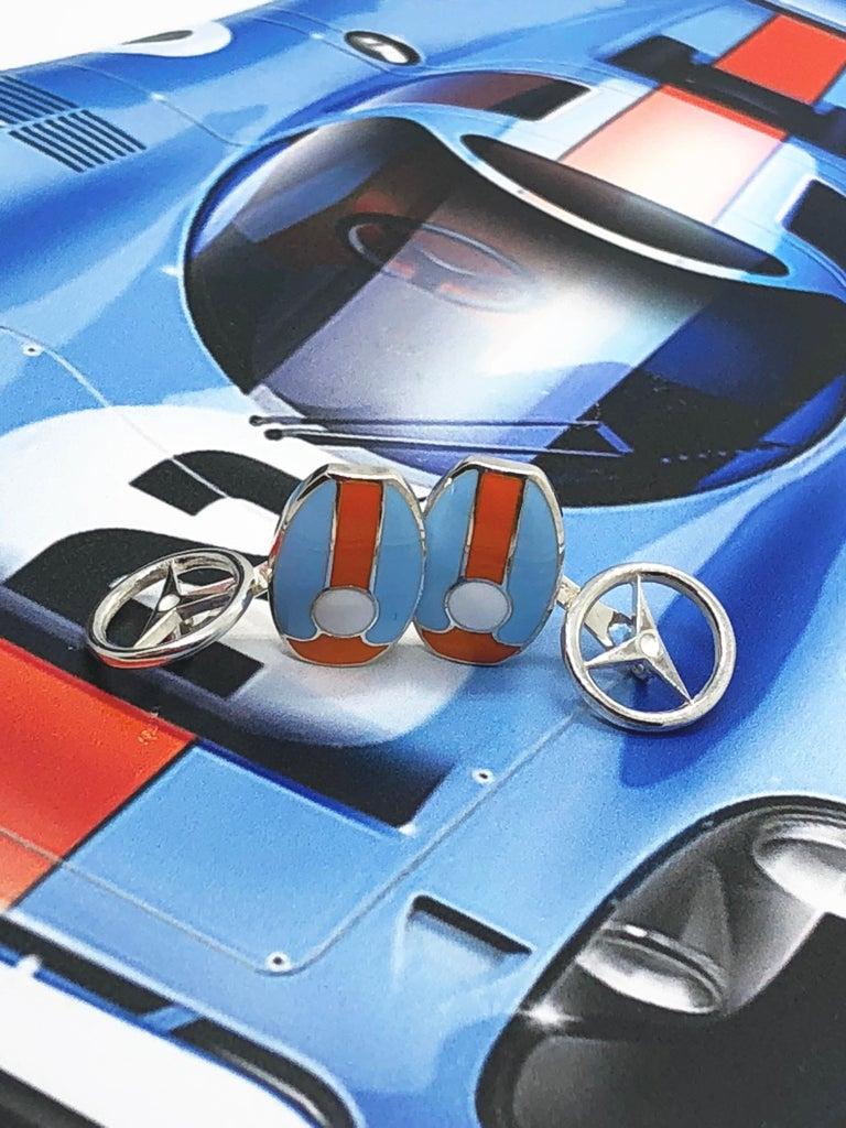 Berca Le Man Race Gulf Colors Hand Enameled Wheel Back Sterling Silver Cufflinks For Sale 5