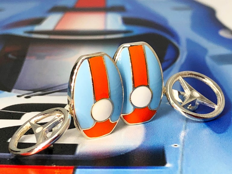 Le Mans Race Gulf Colors Hand Enameled Wheel Back Sterling Silver Cufflinks For Sale 6