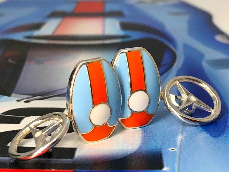 Berca Le Man Race Gulf Colors Hand Enameled Wheel Back Sterling Silver Cufflinks For Sale 7
