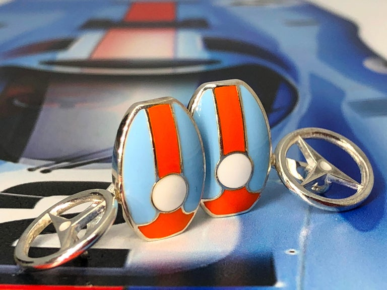 Le Mans Race Gulf Colors Hand Enameled Wheel Back Sterling Silver Cufflinks For Sale 7
