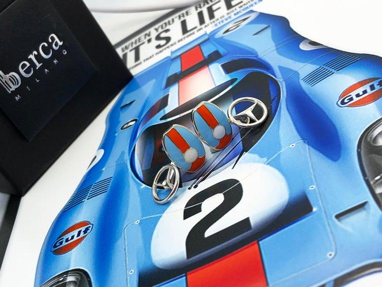 Berca Le Man Race Gulf Colors Hand Enameled Wheel Back Sterling Silver Cufflinks For Sale 8