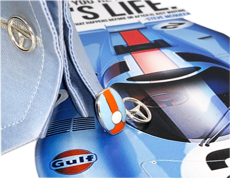 Contemporary Le Mans Race Gulf Colors Hand Enameled Wheel Back Sterling Silver Cufflinks For Sale