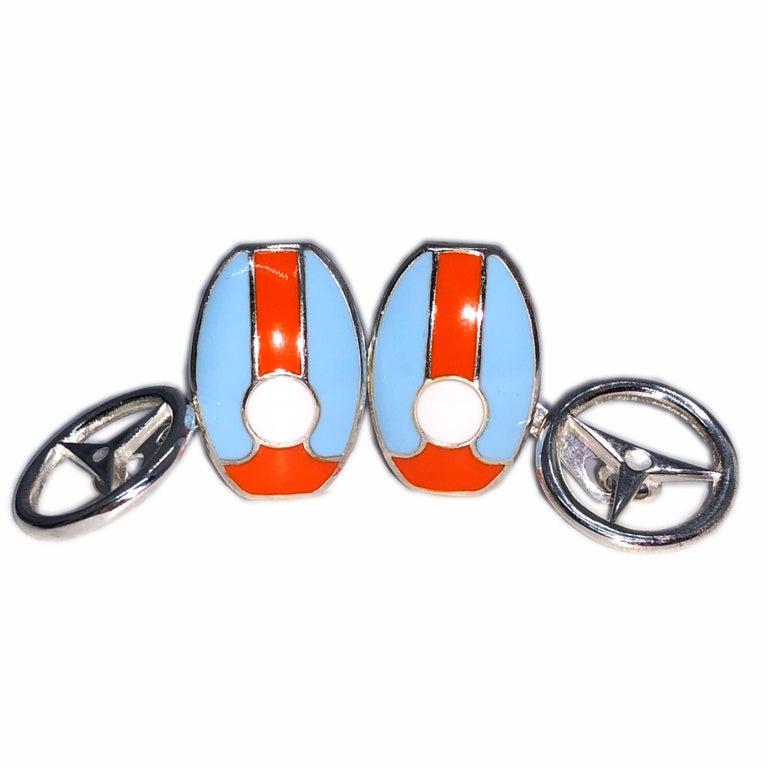 Men's Berca Le Man Race Gulf Colors Hand Enameled Wheel Back Sterling Silver Cufflinks For Sale