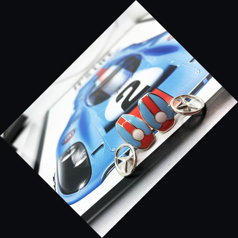 Le Mans Race Gulf Colors Hand Enameled Wheel Back Sterling Silver Cufflinks For Sale 2