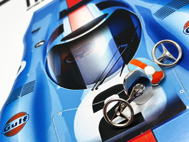 Berca Le Man Race Gulf Colors Hand Enameled Wheel Back Sterling Silver Cufflinks For Sale 3