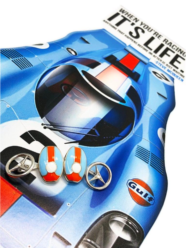 Berca Le Man Race Gulf Colors Hand Enameled Wheel Back Sterling Silver Cufflinks For Sale 4