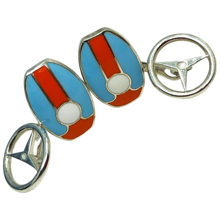 Le Mans Race Gulf Colors Hand Enameled Wheel Back Sterling Silver Cufflinks For Sale