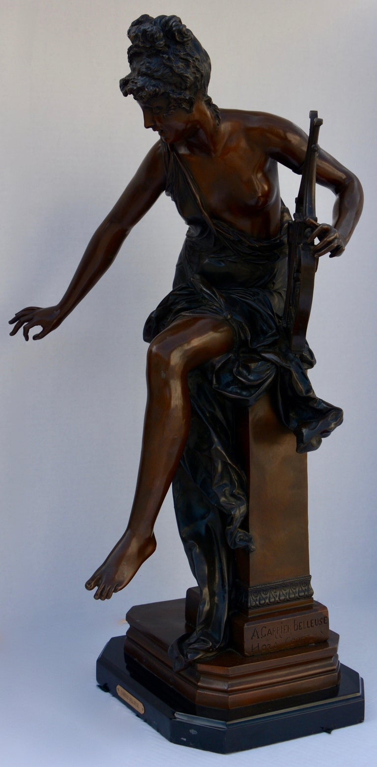 Le Melodie Bronze Statue by Albert-Ernest Carrier-Belleuse For Sale 1