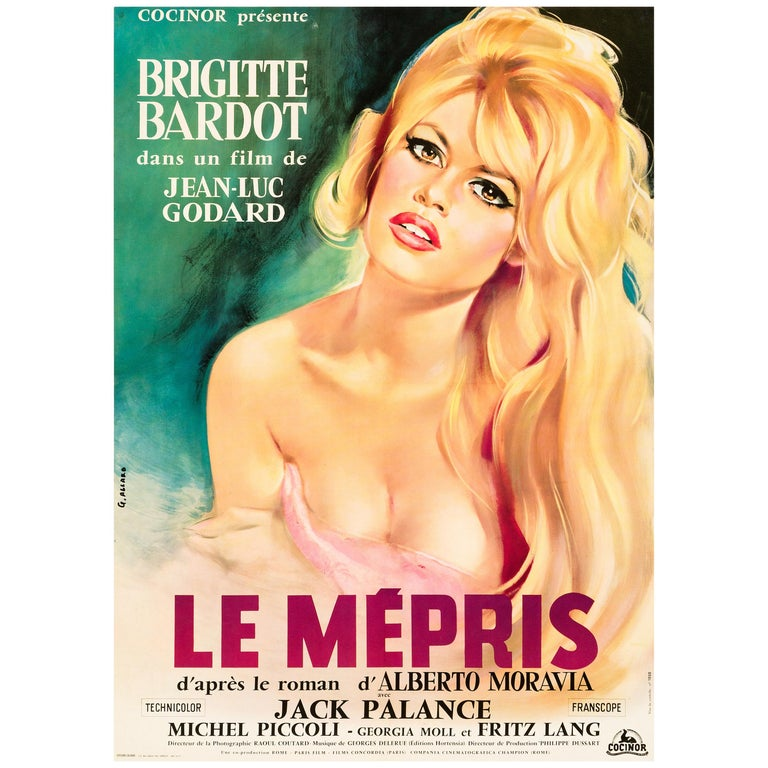 'Le Mepris' Original Vintage French Movie Poster by Georges Allard, 1963 For Sale