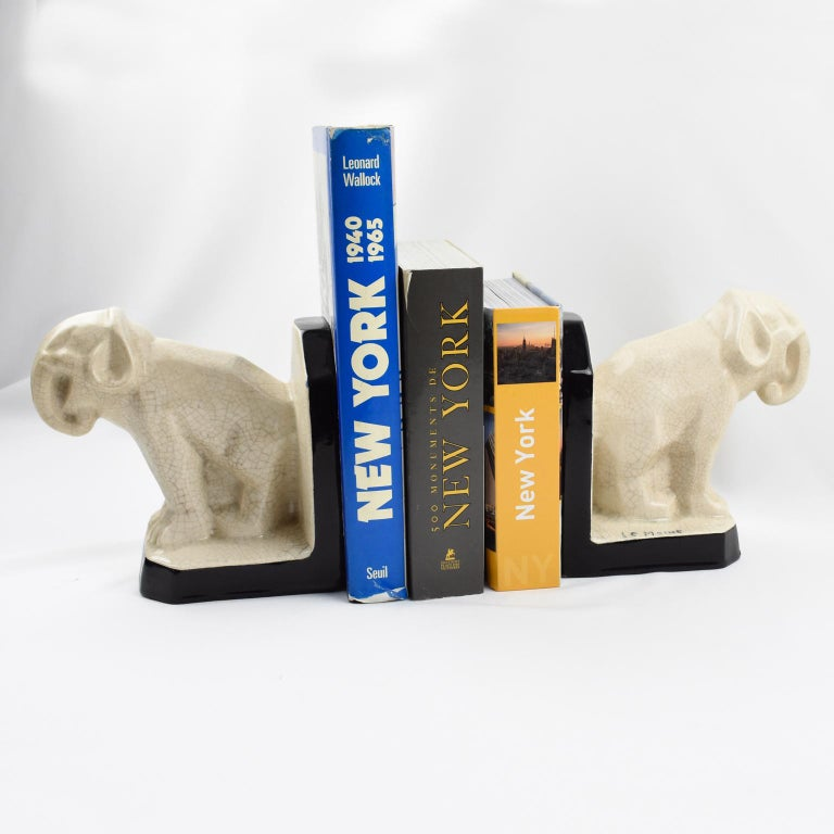 Le Moine French Art Deco Crackled Ceramic Faience Elephant Sculpture Bookends For Sale 7