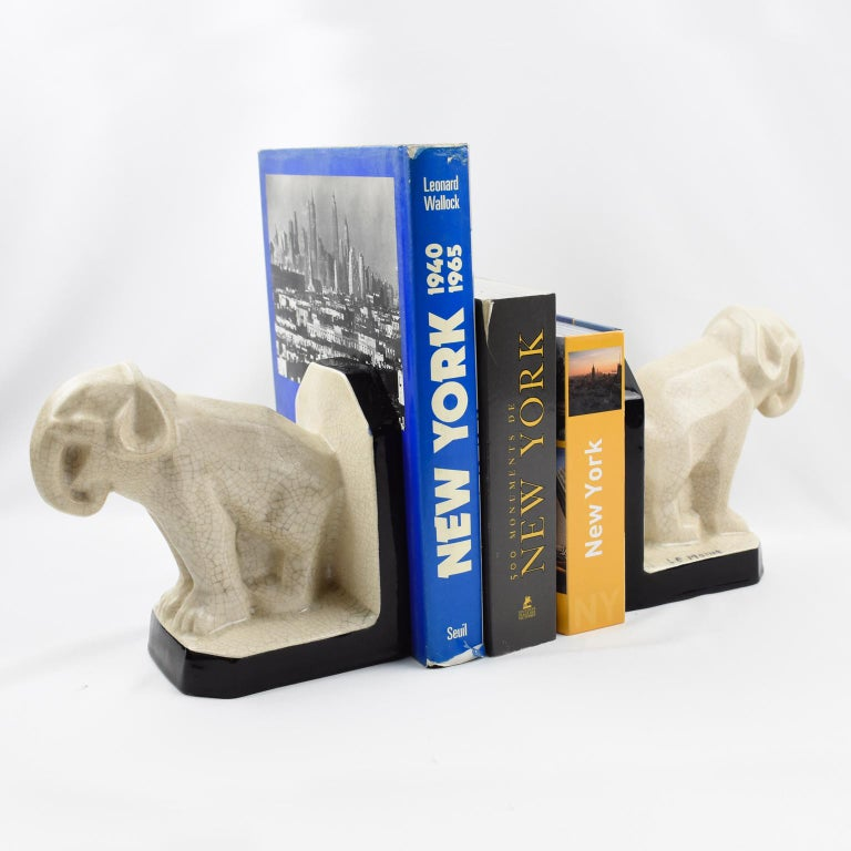 Le Moine French Art Deco Crackled Ceramic Faience Elephant Sculpture Bookends In Good Condition For Sale In Atlanta, GA