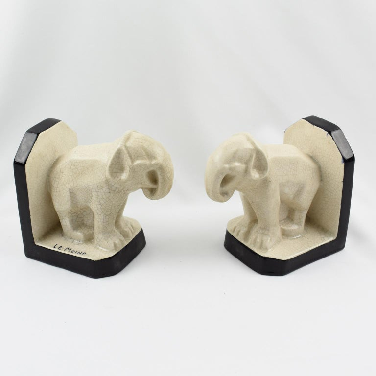 Le Moine French Art Deco Crackled Ceramic Faience Elephant Sculpture Bookends For Sale 1