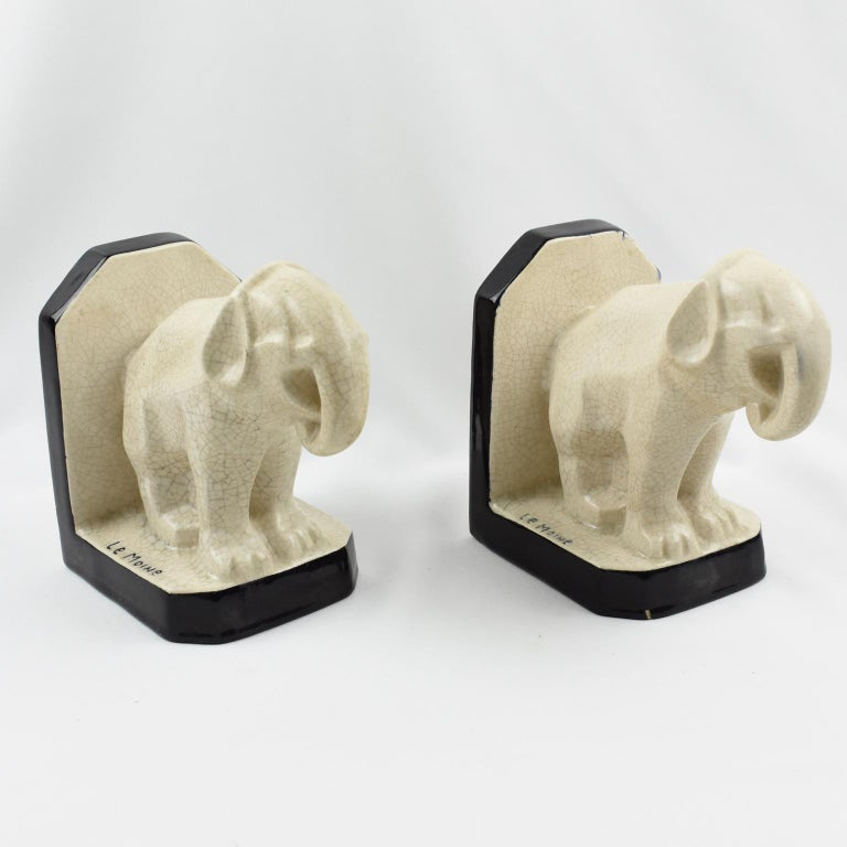 Le Moine French Art Deco Crackled Ceramic Faience Elephant Sculpture Bookends For Sale 4